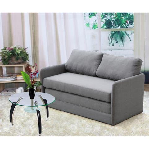 Porch & Den Claiborne Reversible 5.1 inches Foam Fabric Loveseat and Sofa Bed