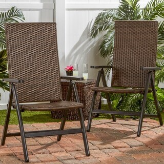 Clay Alder Home Robyville Hand Woven PE Wicker Outdoor Reclining Chairs, Set of Two