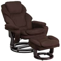 Copper Grove Gunnison Recliner and Ottoman with Swiveling Mahogany Wood Base