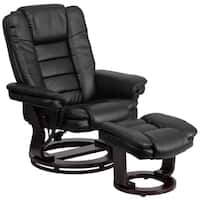 Clay Alder Home Mackinac Contemporary Leather Recliner and Ottoman with Swiveling Mahogany Wood Base