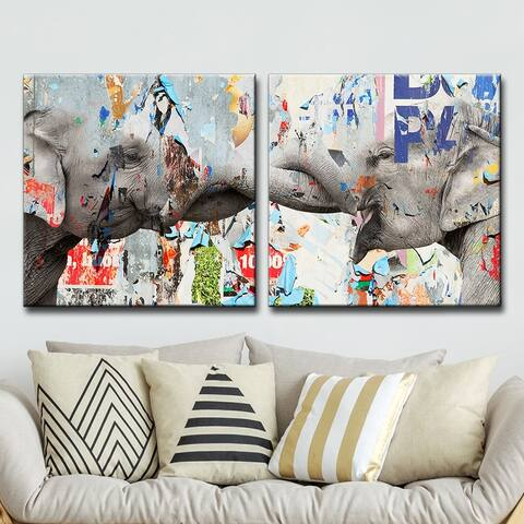 The Curated Nomad 'Saddle Ink Elephant VI' Canvas Wall Art Set