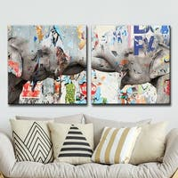 Ready2HangArt 'Saddle Ink Elephant VI' Canvas Wall Art Set - Grey