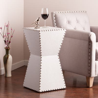 Copper Grove Hightower White Faux Leather Accent Table