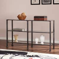 Clay Alder Home Sorlie Distressed Black Metal and Glass 3-Tier Sofa/ Console Table