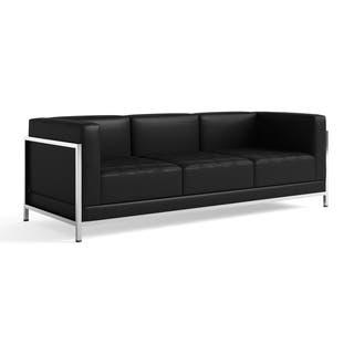 Porch Den Ambador Contemporary Leather Sofa With Encasing Frame