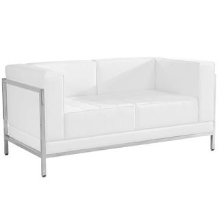 Strick & Bolton Wolcott Leather Love Seat with Encasing Frame
