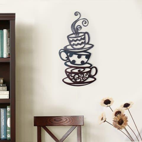 Porch & Den Intercity Iron Coffee Tea Cups Wall Ornament