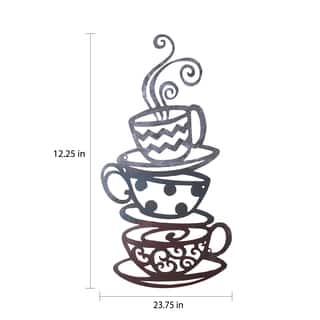 Porch & Den Intercity Iron Coffee Tea Cups Wall Ornament