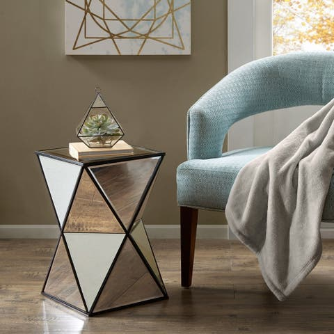 Silver Orchid Harlow Blick Silver Angular Mirror Accent Table