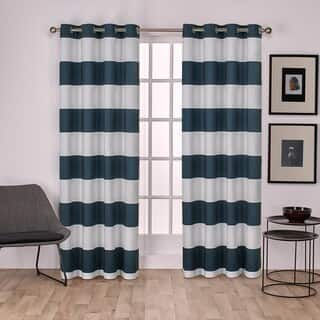 Porch & Den Ocean Cotton Cabana Stripe Grommet Top Curtain Panel Pair