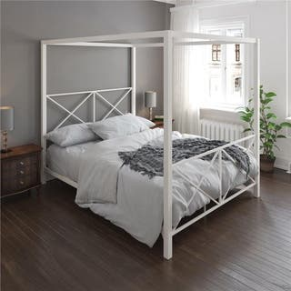 Avenue Greene Rosemarie White Metal Canopy Bed