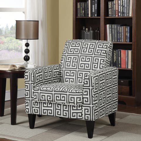 Copper Grove Union Charcoal Grey Greek Key Arm Chair