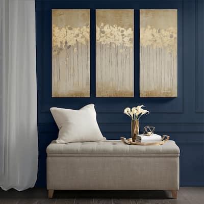 Copper Grove Corydalis Sandy Forest Taupe Gel Coat Canvas with Gold Foil Embellishment 3-piece Set