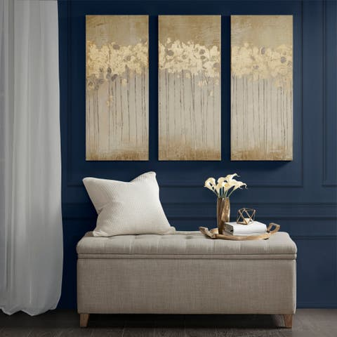 Copper Grove Corydalis Sandy Forest Taupe Gel Coat Canvas with Gold Foil Embellishment 3-piece Set