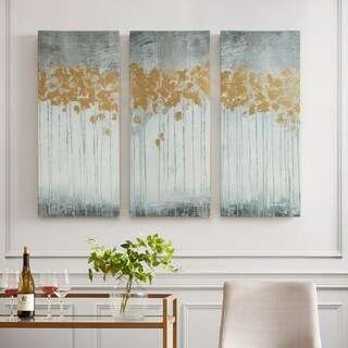 Clay Alder Home Poinsett Grey Forest Grey Gold Foil Embellishment 3-piece Set Gel Coat Canvas