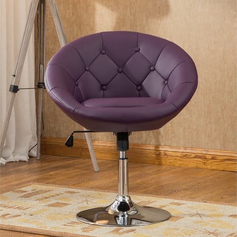 Porch & Den Contemporary Leatherette Chrome Tufted Tilt Swivel Chair