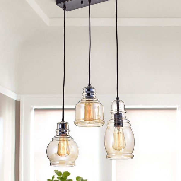 Mariana 3-Light Cognac Glass Cluster Pendant in Antique Black Finish