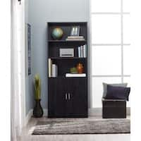 Clay Alder Home Throgs Black Ebony Ash Bookcase with Doors