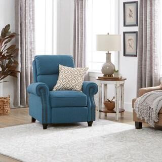 Clay Alder Home Pope Street ProLounger Caribbean Blue Linen Push Back Recliner Chair