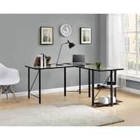 Clay Alder Home Commodore Cherry/ Black Glass Top L-desk