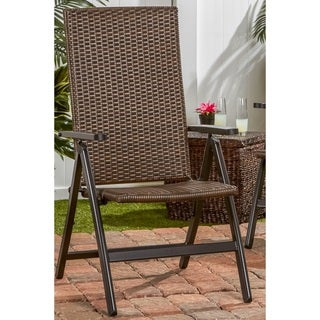 Havenside Home Fairhaven Brown PE Wicker Hand Woven Outdoor Reclining Chair