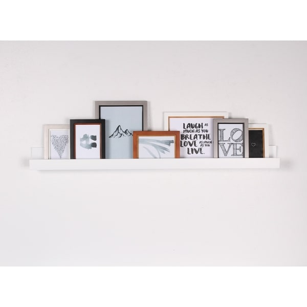 Porch Den Bear Solid Colored Wood Modern Floating Wall Shelf Picture Frame Holder