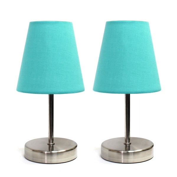 Porch & Den Hogback Sand Nickel Mini Basic Fabric Shade Table Lamps (Set of 2)