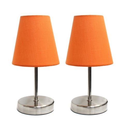 Porch & Den Hogback Sand Nickel Mini Basic Table Lamps (Set of 2)