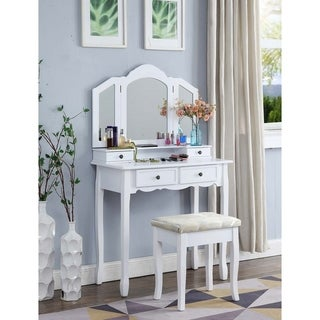 Link to Copper Grove Ruscom Wooden Vanity Make Up Table/Stool Set Similar Items in Bedroom Furniture