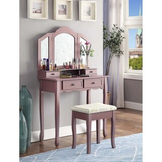 Clay Alder Home Clark White Wooden Vanity, Make Up Table and Stool Set