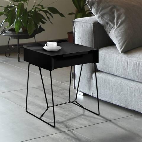 Furniture of America Omer Mid-century Modern Metal 1-drawer Side Table