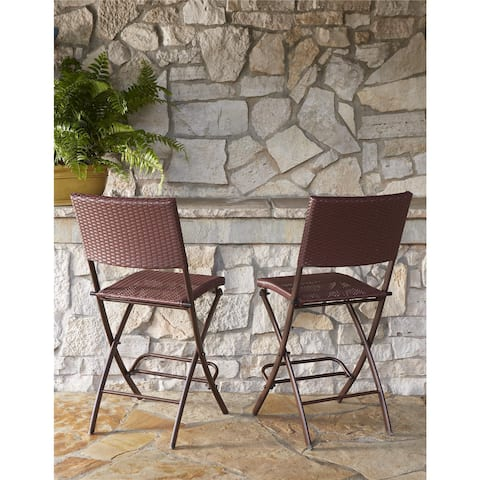 Havenside Home Roseland Outdoor 2-pack Delray Steel Woven Wicker High Top Folding Patio Bistro Stools