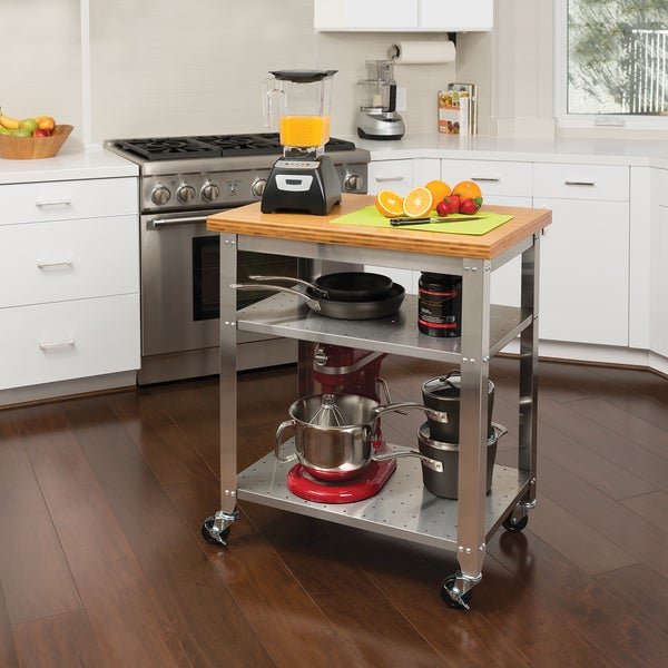 Shop Clay Alder Home Hell Gate Stainless Steel Bamboo Top Kitchen - Stainless steel kitchen work table cart