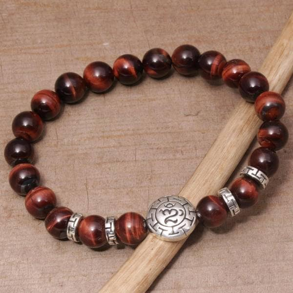Handmade Men's Sterling Silver 'Temesir Om in Red' Tiger's Eye Bracelet (Indonesia)