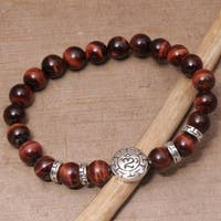 Handmade Men's Sterling Silver 'Temesir Om in Red' Tiger's Eye Bracelet (Indonesia)