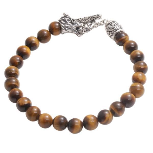 Handmade Men's Sterling Silver 'Dragon Glory' Tigers Eye Bracelet (Indonesia)