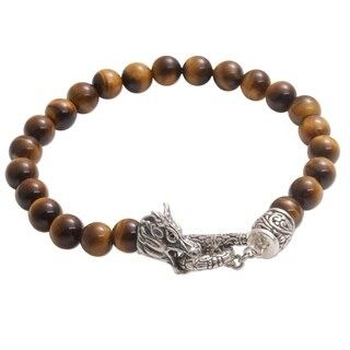 Handmade Men's Sterling Silver 'Dragon Glory' Tigers Eye Bracelet (Indonesia) - Brown