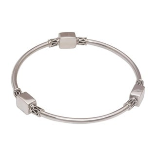 Handmade Sterling Silver 'Square Reflection' Bracelet (Indonesia)