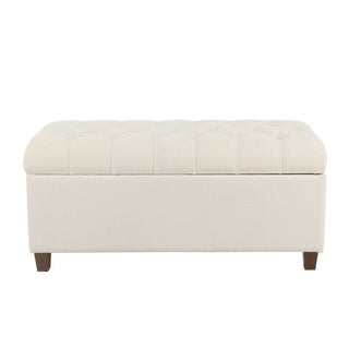 Copper Grove Muir Button Tufted Storage Bench   Cream