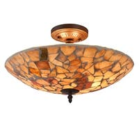 Chloe 2-light Dark Bronze/Stained Glass Semi-Flush Mount