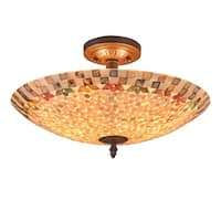 Chloe 2-light Dark Bronze/Sea Shell Glass Semi-Flush Mount