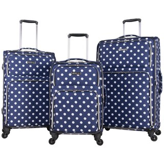 Heritage Albany Park 3-Piece Polka Dot Expandable Spinner Luggage Set