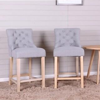 Loksa Contemporary Gray Fabric Tufted Counter Height Stools, Set of 2
