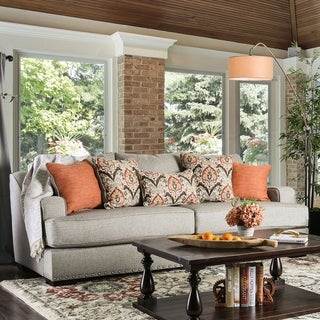 Furniture of America Vatz Contemporary Grey Fabric Upholstered Sofa