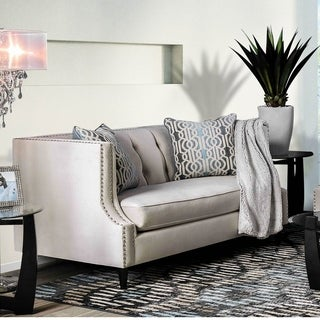 Furniture of America Garamond Contemporary Tuxedo Tufted Loveseat