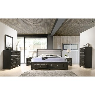 Asger Antique Gray Finish Wood 6-PC Upholstered Queen Bedroom Set