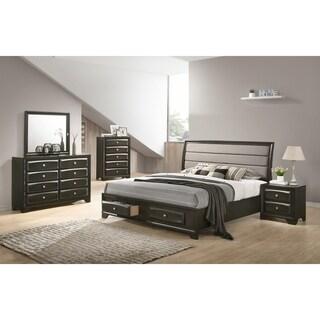 Asger Antique Gray Finish Wood 5-PC Upholstered King Bedroom Set