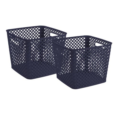 Square Deco Basket Blue, 2 Pack