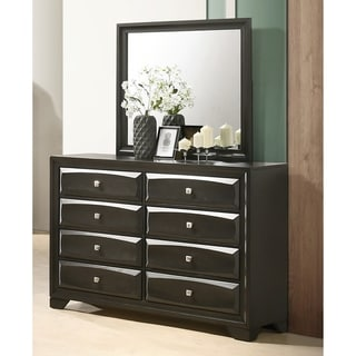 Oakland Antique Gray Finish Wood 6 Drawers Dresser with Mirror