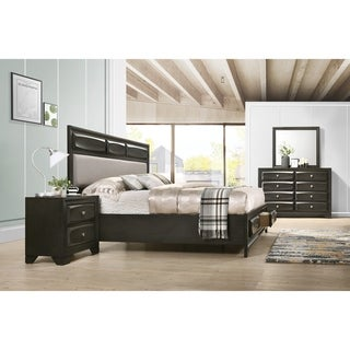 Oakland Antique Gray Finish Wood 4-PC Queen Size Bedroom Set